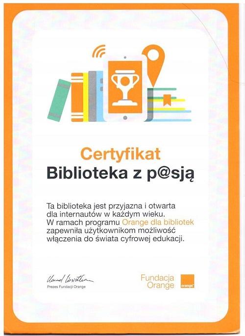 Certyfikat Biblioteka z p@sją